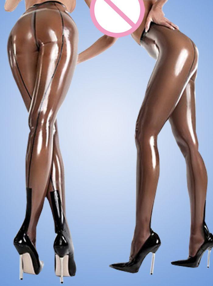 Sexy woman transparent brown latex leggings high waist rubber pants XXXL plus size