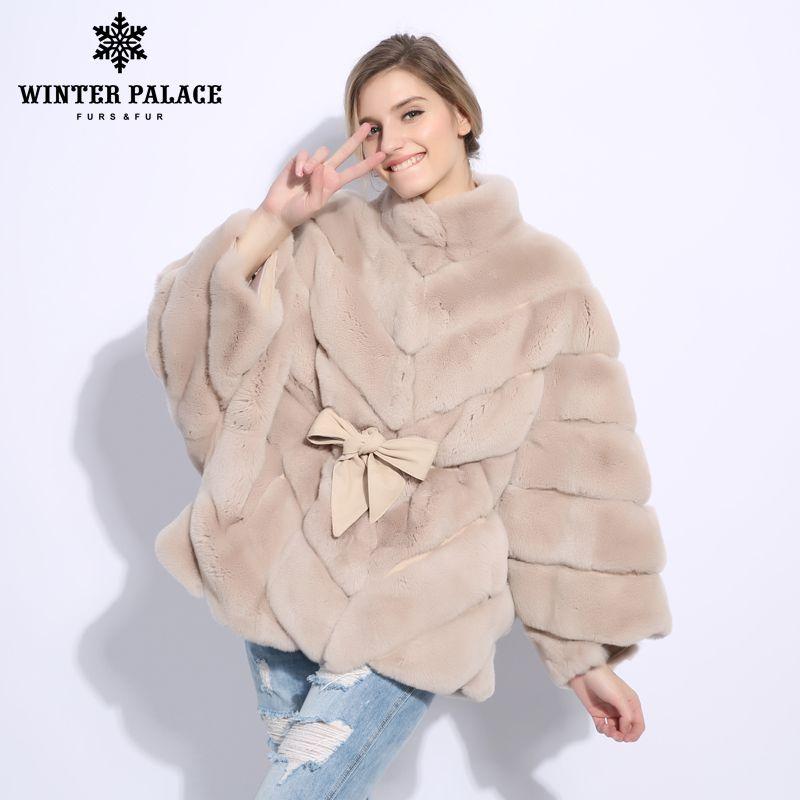 2018 Winter fur coat cape Fashion new rabbit fur coat Casual rex rabbit fur coat Solid real rex rabbit fur coat O-Neck