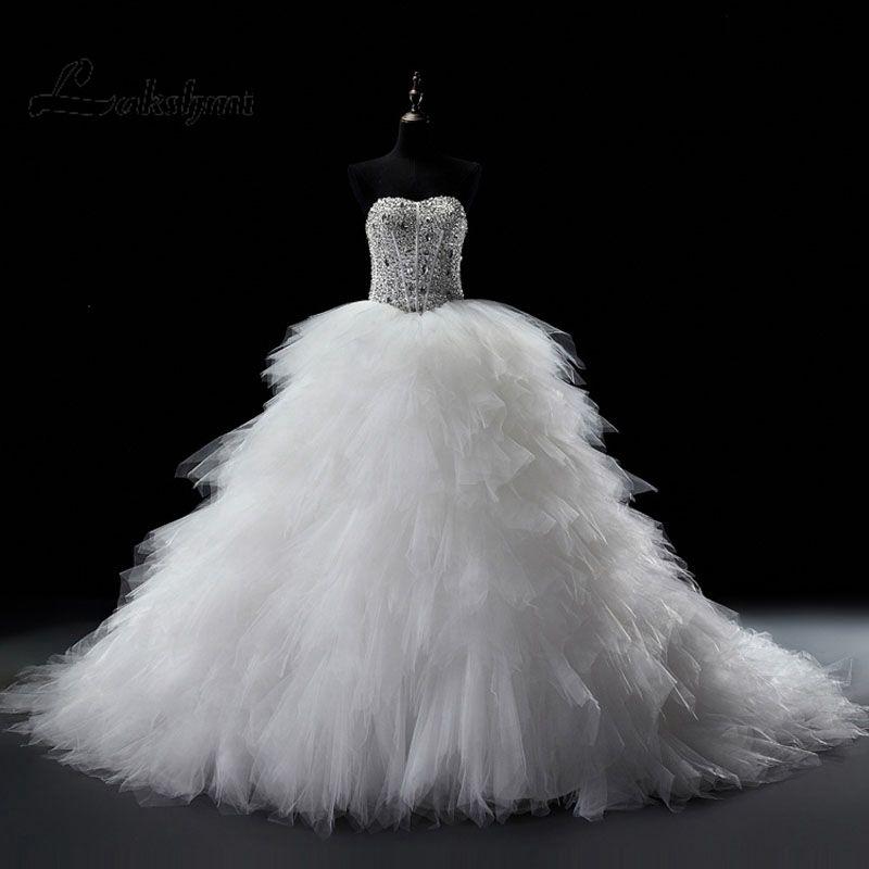 Sparkling Crystal A-line Wedding Dress Real Photo Corset Bridal Gowns with Cascading Ruffles 2017 vestido de noiva Custom Made