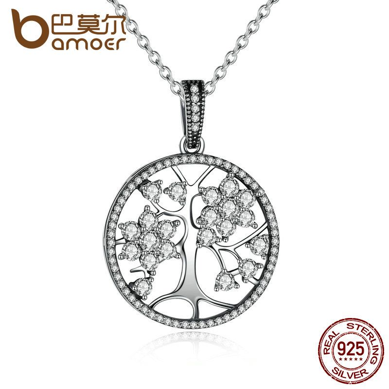 The Christmas DEALS Classic 925 Sterling Silver Tree of Life Round Pendant Necklaces for <font><b>Women</b></font> Fine Jewelry PSN013