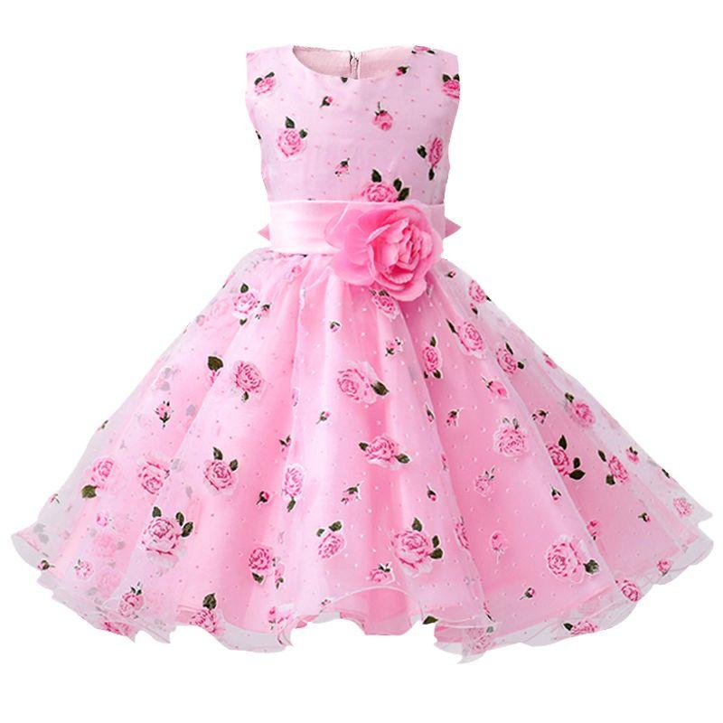 Détail fleur robe ceintures de mariage fête fille robe imprimé fleuri bébé robe première Communion enfants robes taille: 100-150 L619