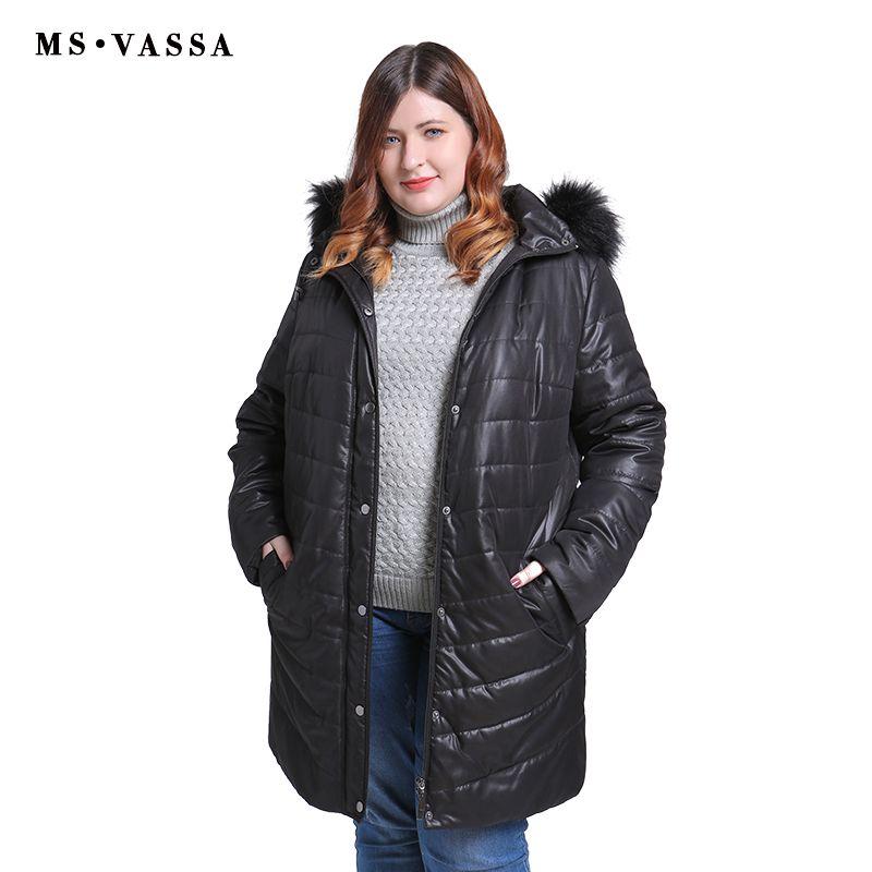 MS VASSSA Frauen Parkas 2018 Neue Winter Herbst Jacken umlegekragen teddy futter plus größe 5XL 6XL weibliche oberbekleidung