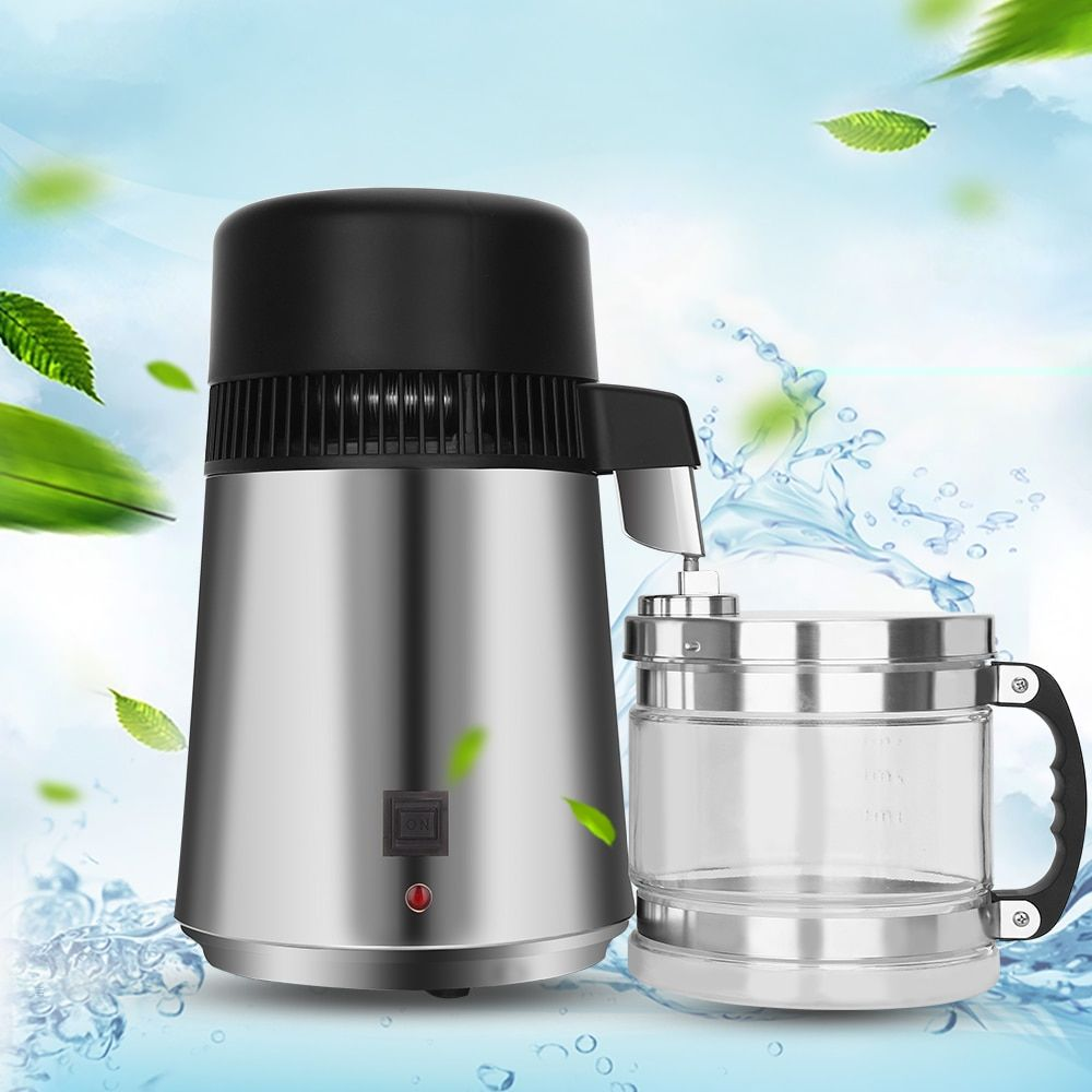 750W 4L Capacity Pure Water Distiller Purifier 220V Stainless Steel Container Filter Distilled Water Device with Glass Jar