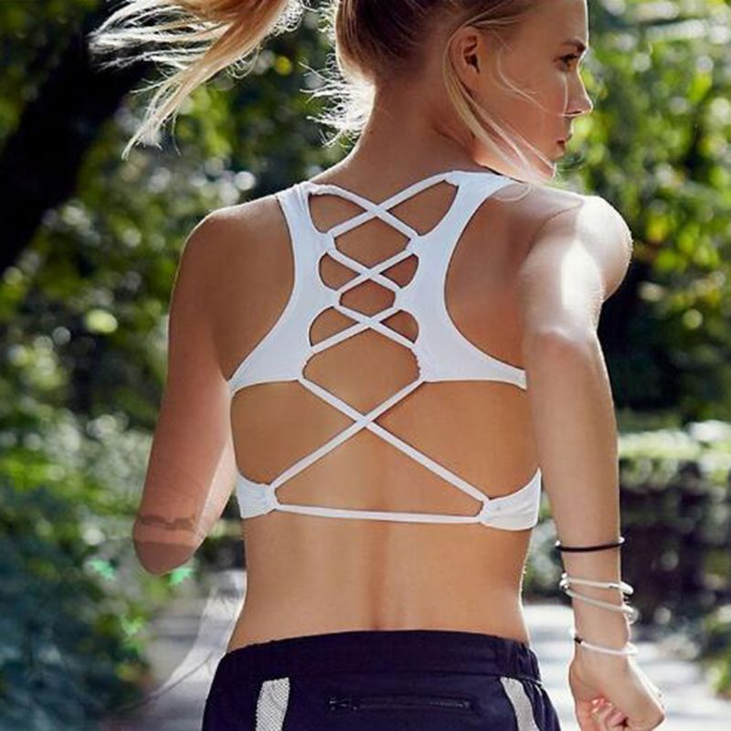 2017 Women's High Sexy Hollow Out Beautiful Back Women Top Blouses Quick Dry Yoga Sport Bra Cups Athletic Vest Tops D026