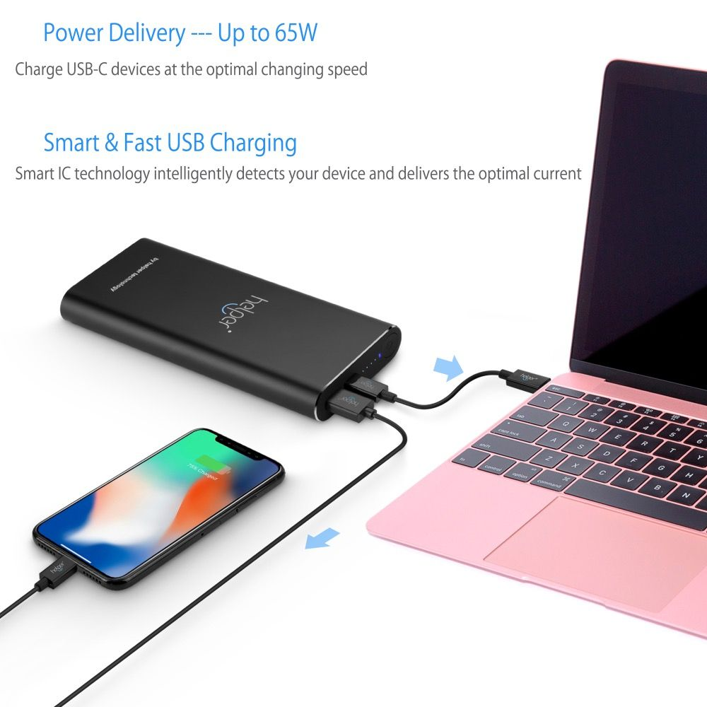 Powerbank 20V 2.25A 3.25A 45W 65W PD+QC with USB Type-C Input / Output and QC Output for Xiaomi Air HUAWEI USB Type-C Laptops