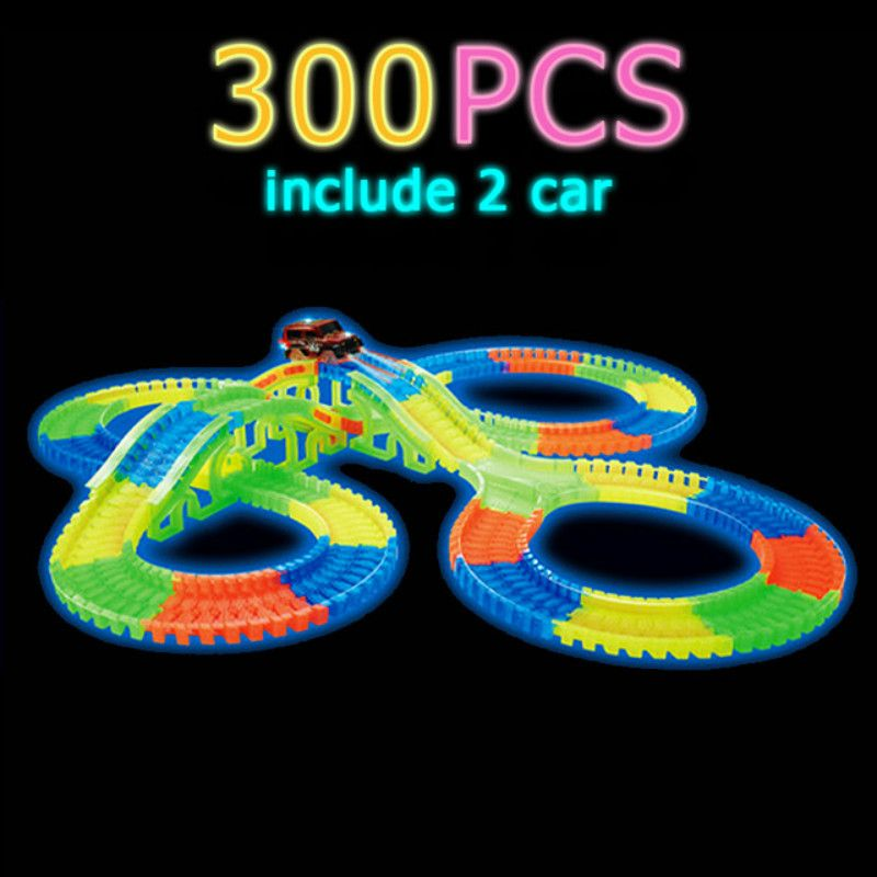 Glow Racing Track set 5 pista de luz led coche brillante flexible pistas juguete 162/165/220/240 pista flexible ferrocarril llevó Coche