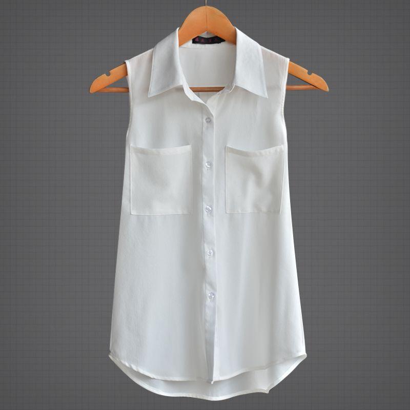 2019 lâche slim col rabattu sans manches OL mousseline de soie chemises hauts blancs femme d'été femmes blouses