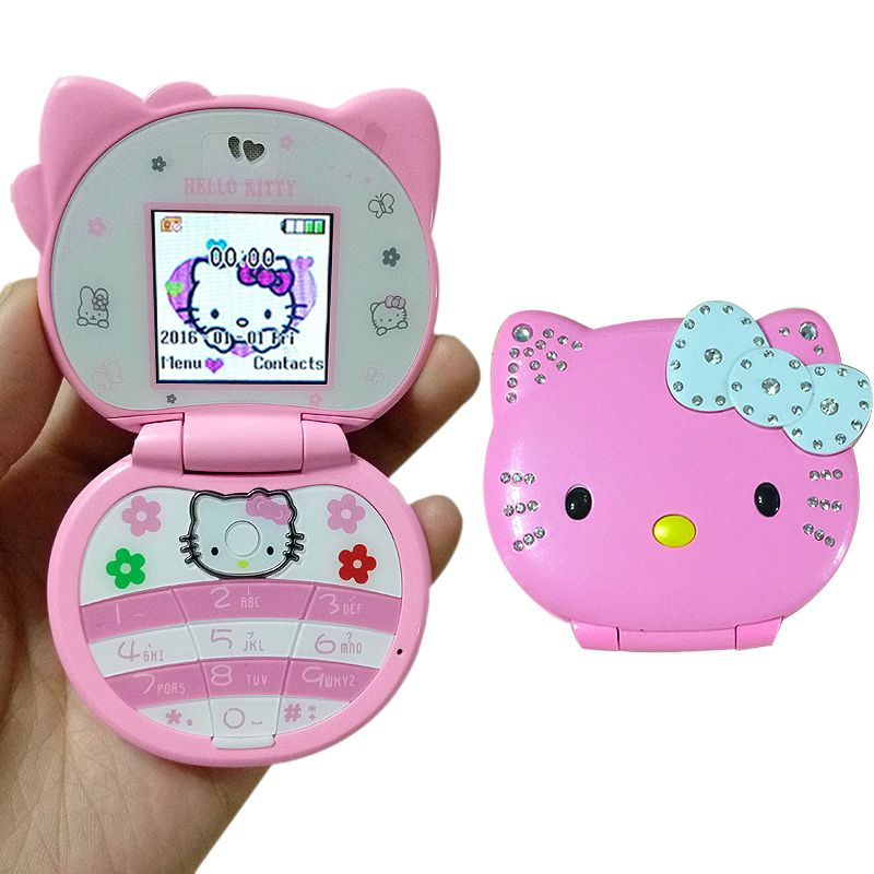 KUH T99 Flip Belle Mignon Mini Bonjour Kitty Téléphone portable de Dessin Animé Pour Enfants Filles Faible Rayonnement Bluetooth Dialer Vibrations Whatsapp