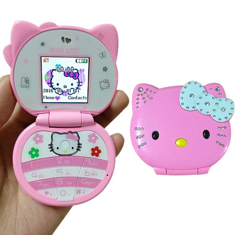 KUH T99 Flip Belle Mignonne Mini Bonjour Kitty Dessin Animé Téléphone Portable Pour Enfants Filles Faible Rayonnement Bluetooth Dialer Vibration Whatsapp