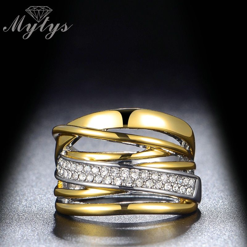 Mytys Fashion Irregular Layers Chunky Ring For Women and GP Ring with Gift Box R1078