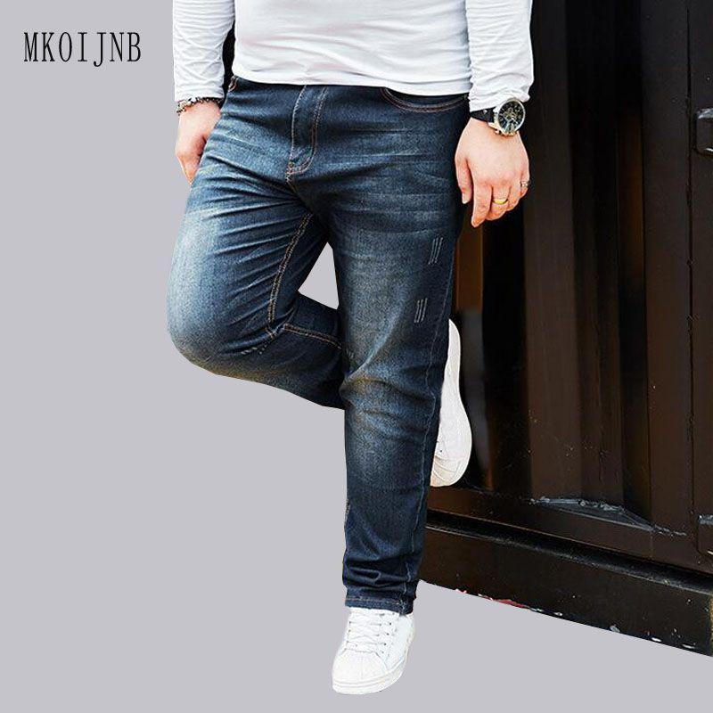 Для мужчин темно-синий плюс Размеры классический Проблемные Джинсы для женщин прямой свободный крой Винтаж джинсовые штаны для Для мужчин ...
