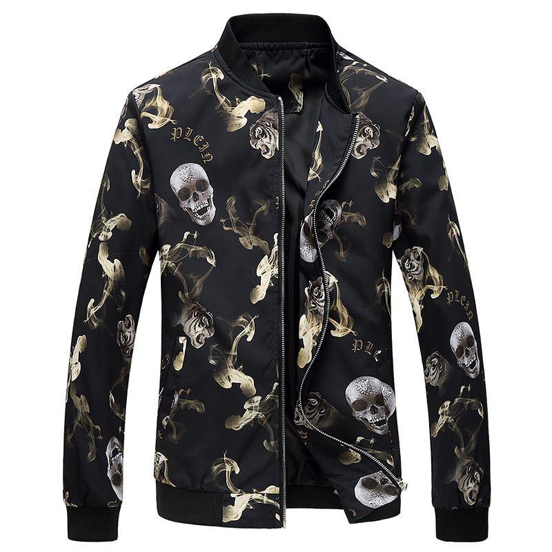 2018 Autumn Spring Outerwear jackets men casual Coats Slim fit men army Skull pattern jacket