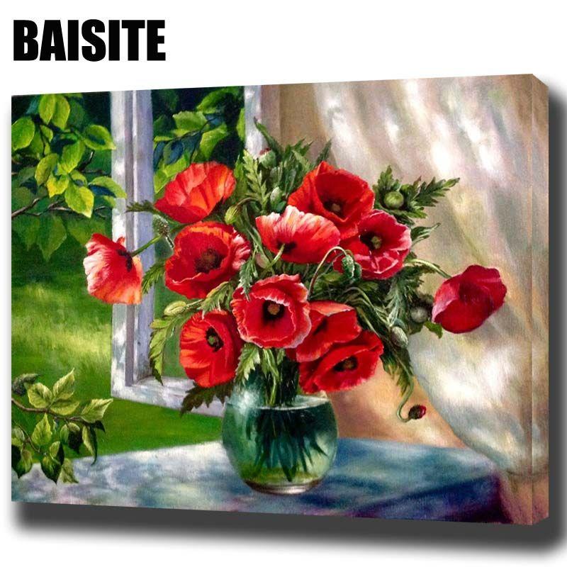 BAISITE DIY Encadrée Peinture À L'huile Par Numéros Rouge Fleurs Fenêtre photos Toile Peinture Pour Salon Wall Art Décor À La Maison H543