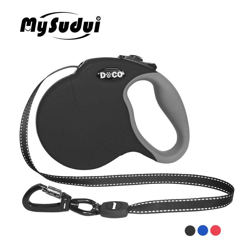 MySudui 4 M 5 M laisse de chien rétractable extension automatique laisse de chien en Nylon réfléchissant laisse de grand chien rétractable pour grand chien