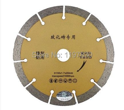 free shipping 1PCS high quality 158*20*10mm segmented diamond saw blades specially for fast cutting vetrified tiles/tile etc