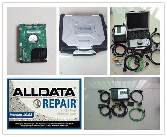 2018 super mb star c5 and alldata 10.53 software in hdd 1tb with laptop cf30 star diagnose for 12v 24v ready to work