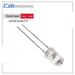 100pcs Straw Hat 5MM White LED Light Emitting Diode Super Bright Light 1200-1400mcd Highlighted White