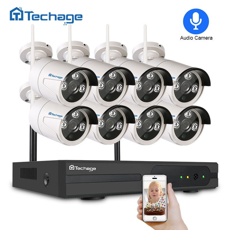 Techage 8CH Wifi CCTV System Wireless NVR Kit 720P/960P/1080P Outdoor Audio Sound Camera P2P Video Security Surveillance Set