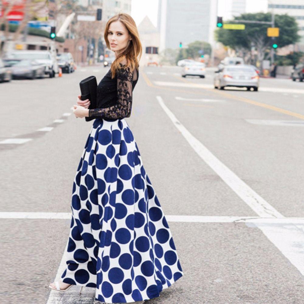 Mode Vintage à pois femmes longue jupe taille haute imprimé Maxi jupe décontracté élégant noir/bleu/rouge jupe plissée