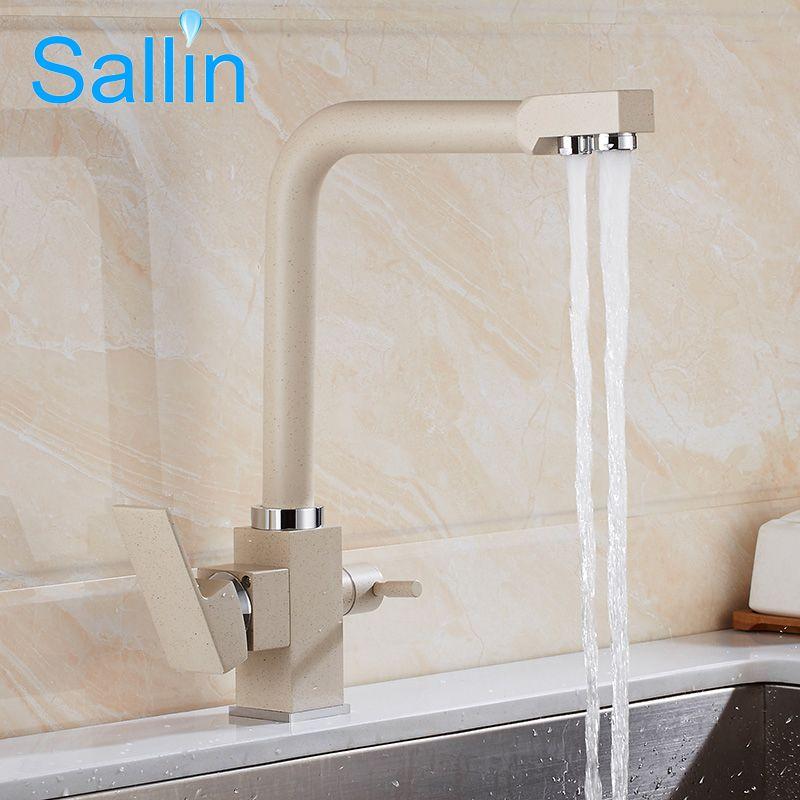 Messing Küchenarmaturen Bronze Dual Griff Filter Spültischarmatur 360 grad-umdrehung Trinkwasser Küchenarmatur Kran Tap