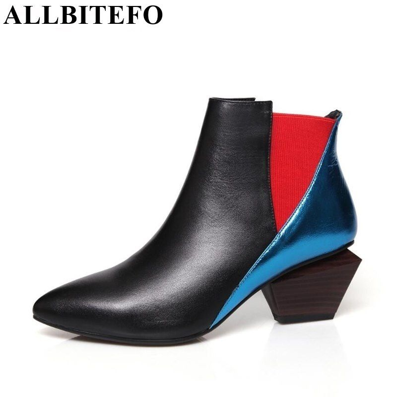 ALLBITEFO Mixed colord fashion genuine leather pointed toe thick heel women pumps 2018 new girls sexy high heel shoes high heels