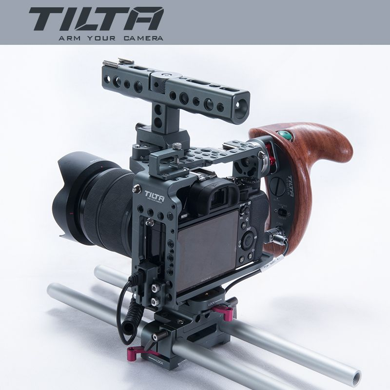 NEW Tilta ES-T17-A rig Alpha 7 Cage A7S A7S2 A7R A7R2 Rig Cage Baseplate New Wooden Handle For SONY A7 series camera