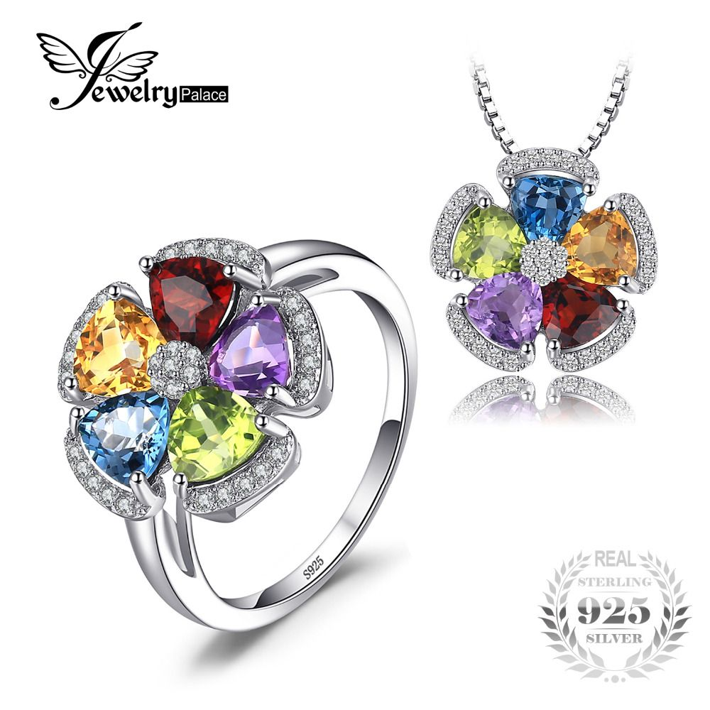 JewelryPalace 5.2ct Genuine Blue Topaz Amethyst Citrine Garnet Peridot Ring Pendant Necklaces Jewelry Sets 925 Sterling Silver