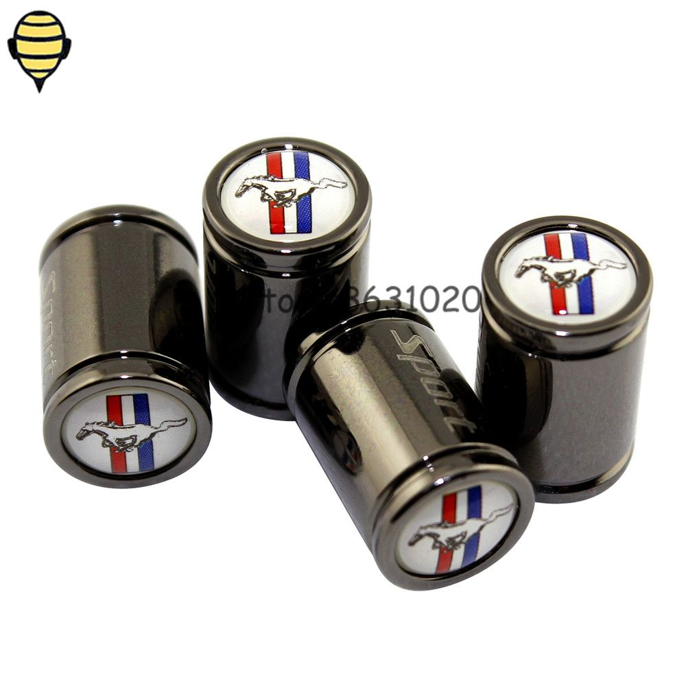 For Ford Mustang V8 GT GT500 GT350 Escort Fusion Shelby Focus Auto Car Accessories Wheels Tire Valve Stem Caps For Horse logo