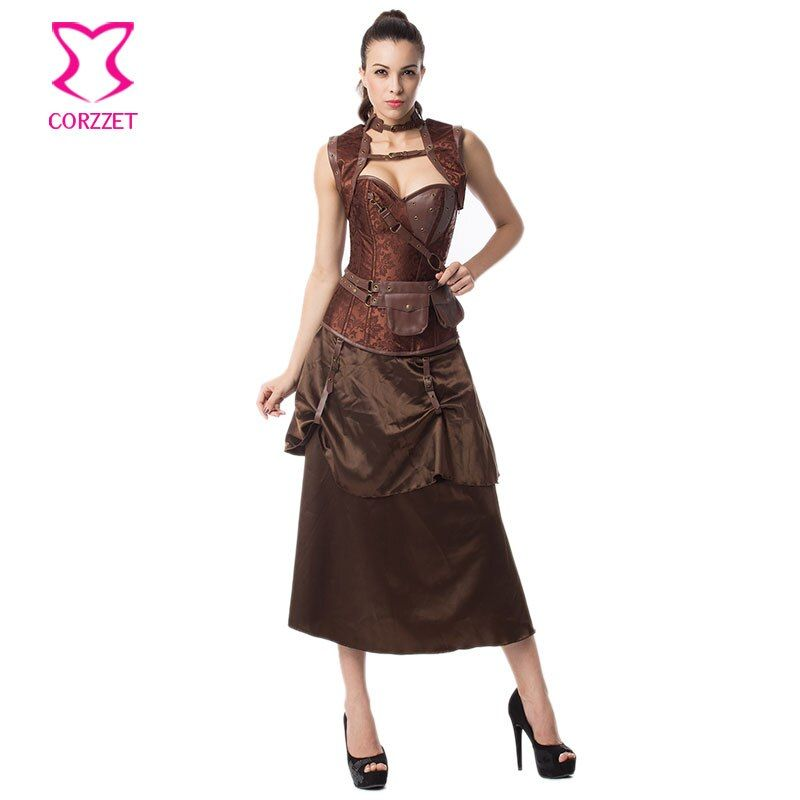 Women's Vintage Steampunk Corset Dress Plus Size Corset with Skirt Burlesque Dresses Sexy Corsets and Bustiers Gothic Clothing