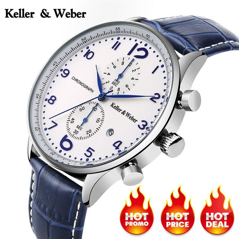 Unique Bleu Chronographe Mens Watch Nouveau Top De Luxe Militaire Sport 30ATM Quartz montre-bracelet En Cuir Véritable Date Horloge Mâle Heure