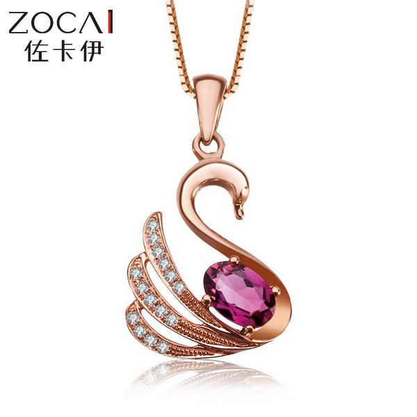 ZOCAI halsband Tier Schmuck schwan 18 Karat roségold red Rubellit 0,3 CT Turmalin 0,05 Diamant-anhänger 925 STERLING SILBER KETTE
