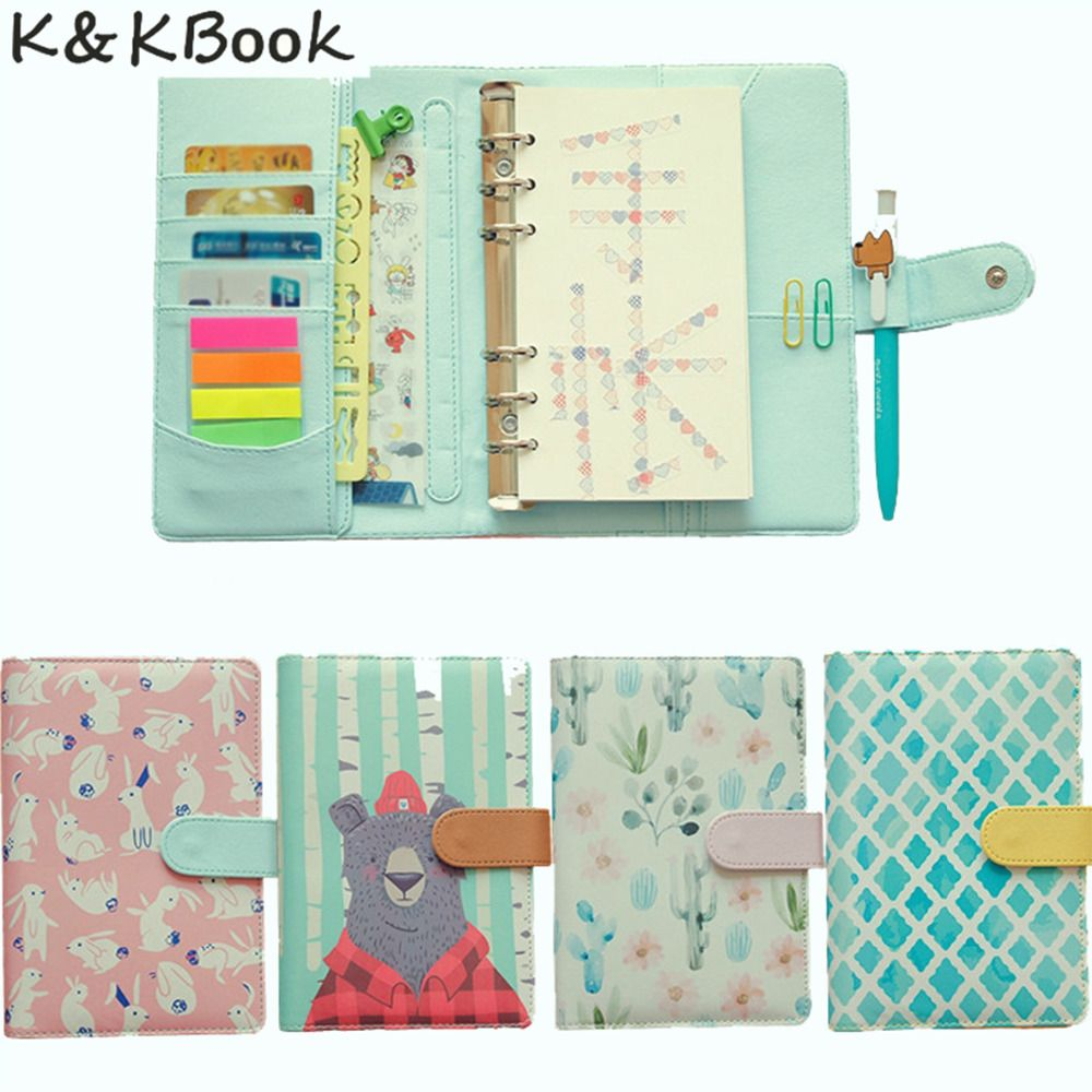 K&KBOOK KK008 Creative Leather Notebook A5 A6 Loose Leaf Spiral Notebook Diary Kawaii Notebooks and Jourals Cute Agenda Planner