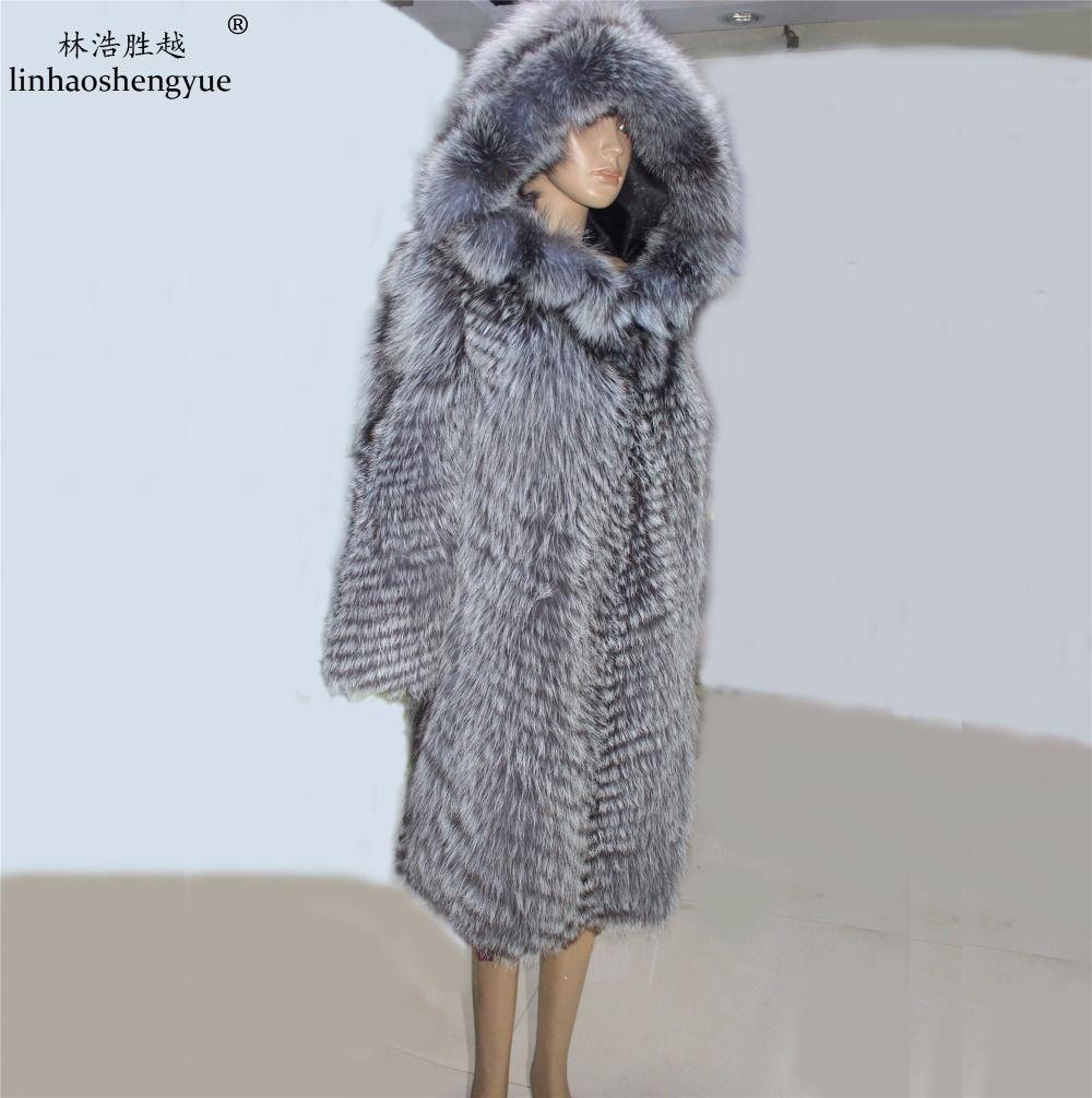 Linhaoshengyue mode pelzmantel echtpelz fuchs frauen mantel mit kapuze shipping, Natürliche silber fuchs