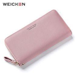 Женский кошелек с ремешком на руку WEICHEN, розовый длинный вместительный клатч для телефона, с отделениями для карт, 2019