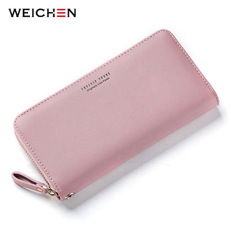 WEICHEN bracelet femmes Long pochette portefeuille grande capacité portefeuilles femme sac à main dame sacs à main téléphone poche porte-carte Carteras