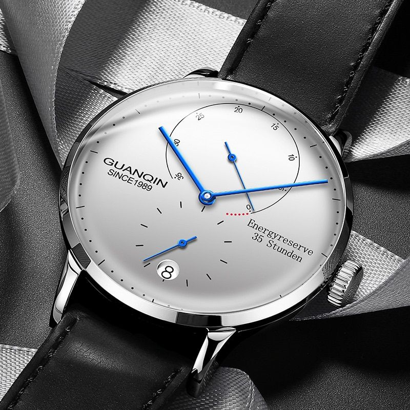 GUANQIN Herren Uhren Top-marke Luxus Automatische Datum Männer Casual Fashion Uhr Wasserdicht Echtem Leder Mechanische Armbanduhr