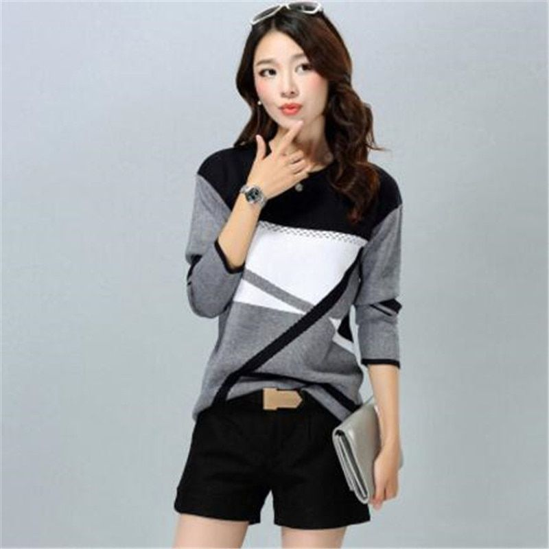 Free Shipping Women'S Casual O-Neck Cashmere Pullover Spring /Autumn /Winter Women Sweater Plus Size Bottoming Shirt ZY2396