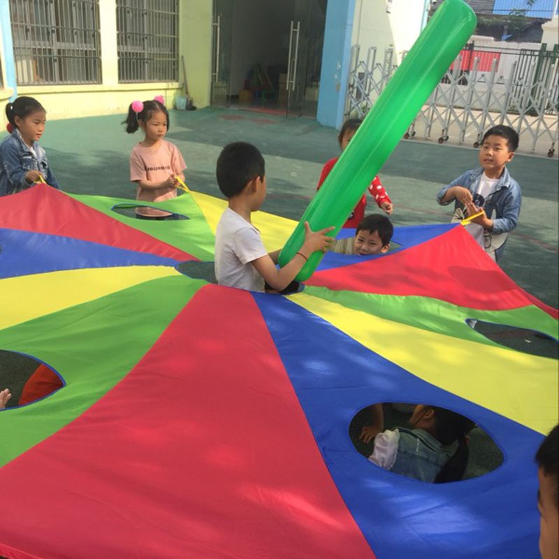3M/4M/5M Diameter Kids Parachute with Holes, Kindergarten Outdoor Game Poke A Mole or Jump-Sack, Kids Games Rainbow Umbrella