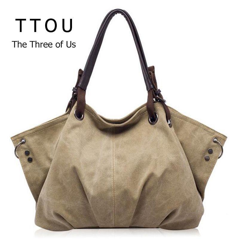 Women Fashion Canvas Handbags Retro Large Capacity Female Shoulder Bags Stylish Casual <font><b>Crossbody</b></font> Bags Classic Solid Totes TTOU