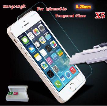Wang cang li 5 pcs 0.26mm pour iphone4 5 6 7 7 plus verre écran de protection film pour le iPhone 4 4S en verre trempé de protection film