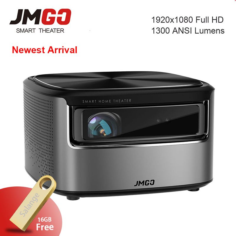 JmGO N7 Full HD 1080P Projector,Android OS,1300 ANSI Lumens,1920*1080 Bluetooth 2G/16G Support 4K Video Wifi 3D Projector Beamer