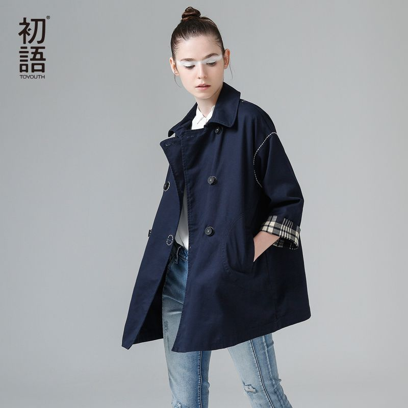 Toyouth Loose Casual Trench Coat Women Turn Down Collar Outerwear Coats Double Breasted Streetwear Trench Outwear Female Coat