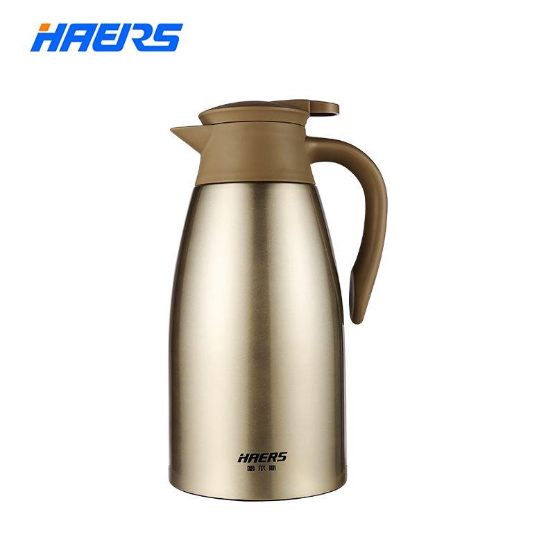 Haers 2L Edelstahl Thermoskanne Tee Kaffee Karaffe Doppel Wand Vakuum Isolierte mit Drücken Sie Taste Wasser Flasche