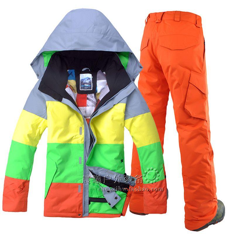 Winter ski jacke und skihose outdoor leisure sport herren wasserdicht winddicht skianzug männer doppel bord Snowboard anzug
