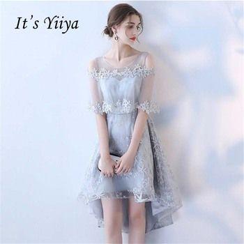 It's YiiYa Two Pieces Gray O-neck Gray High Low Chiffon Knee Length Bridesmaids Dresses Zipper Illusion Short Formal Dress YS026