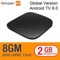 Origine Xiao mi mi boîte tv BOÎTE 4 K quad core 3 Android 6.0 2g/8g smart HDR Film Set-top Box Multi-langue Netflix YouTube Google