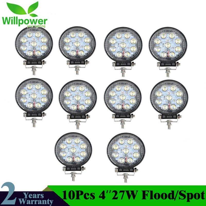 10Pcs 4 inch 27W Spot Flood LED Work Light Car Fog Offroad light 12V 24V For Boating Hunting 4X4 ATV Tractor Truck
