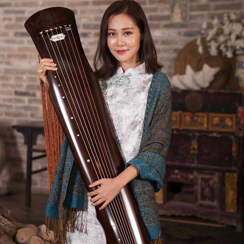 Chinese Guqin Fuxi-type Old Fir Solid Wood Guqin Beginner High-end Performance Level 7 Strings Ancient Zither with Accessories