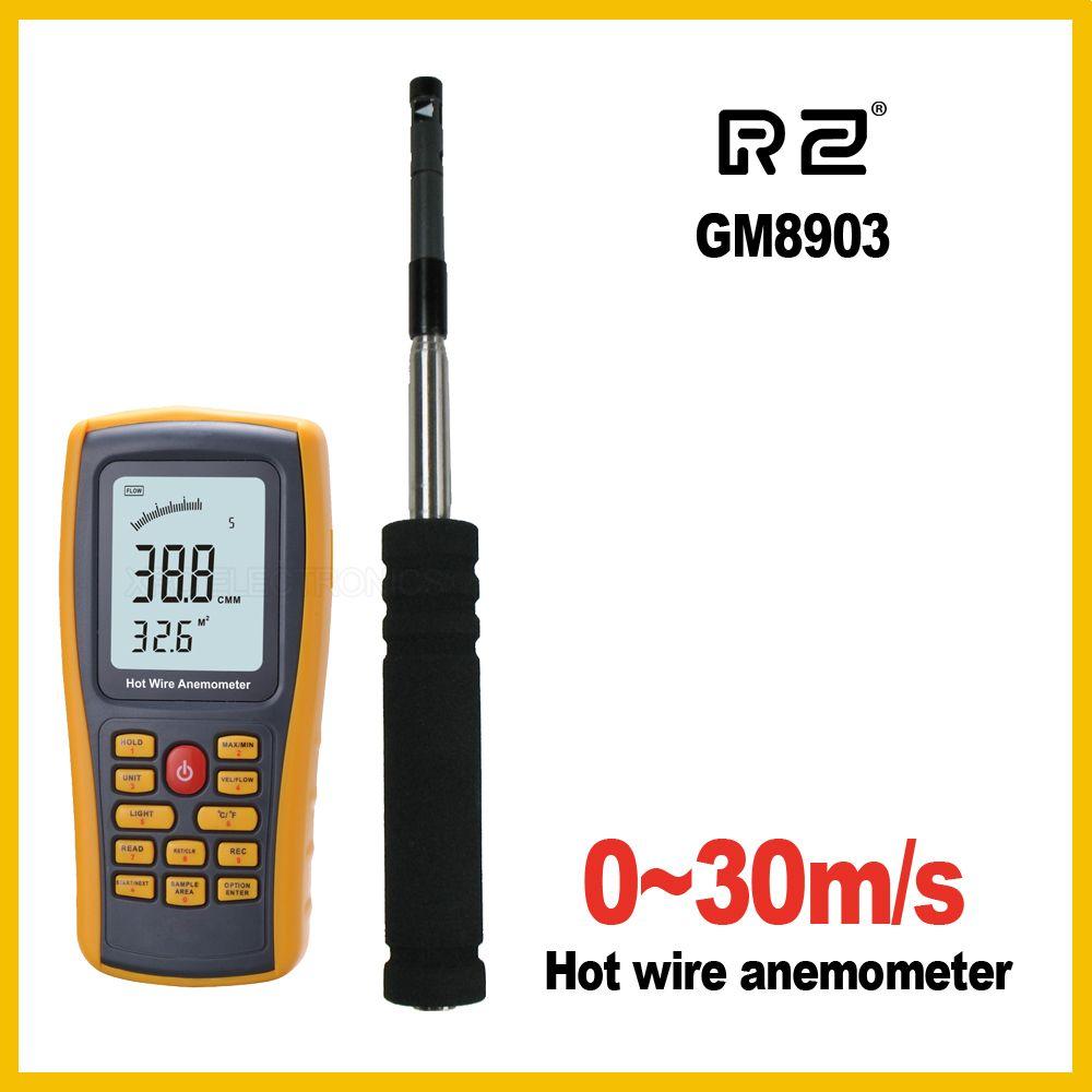 RZ GM8903 anémomètre vitesse du vent mesure de la température outil d'interface USB Instrument de mesure