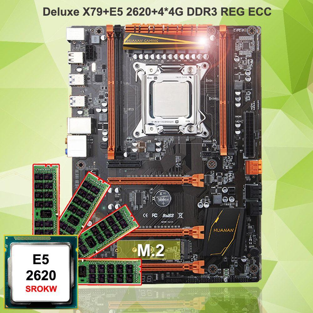 Hot HUANAN ZHI deluxe X79 gaming motherboard set CPU Intel Xeon E5 2620 SROKW RAM 16G(4*4G) DDR3 REG ECC all tested with AIDA64